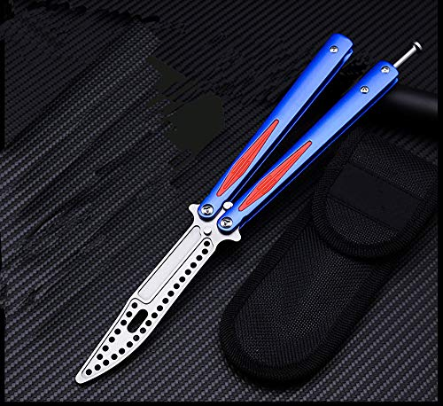 Microtech Folding Tactical Trainer Practice Butterfly Knife Titanium Plated Steel Zinc Alloy Handle Handle Bearings Blunt Dull Blade Unsharpened Tool for Safety Improving Skills (Blue) by Microtech (Image #7)