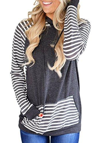 Lovezesent Women Plus Size Casual Raglan Striped Sleeve Double Hooded Pullover Sweatshirt Sport with Kangaroo Pocket Tunic Shirts Dark Grey XL - Hooded Double Pockets