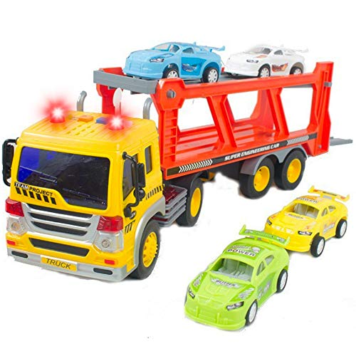 Friction Powered Transport Car Carrier Truck Kids Toy