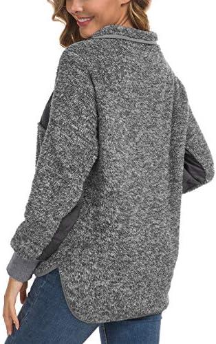 VIISHOW Women's Long Sleeves Quilt Coat Turtleneck Oblique Button Neck Fleece Pullover Coat Sweatshirts Outwear with Pocket