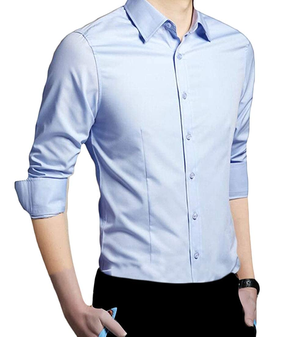 heymoney Mens Premium Casual Stretch Long Sleeve Solid Button-Down Shirt Top