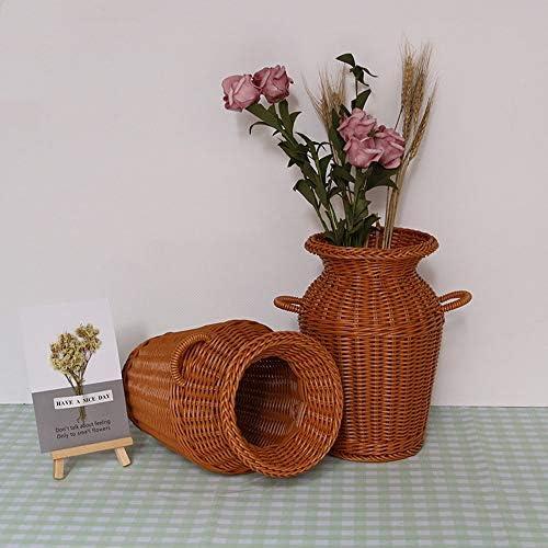 実用的 手織りヴィンテージ花瓶模造籐リビングルーム装飾ドライフラワー/フラワーアレンジメント/フラワーバスケット/スモール花瓶フラワーポット 家具