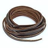 5mm round leather cord - LolliBeads 5mm Flat Genuine Leather Cord Braiding String Dark Brown Espresso (2 Yards)