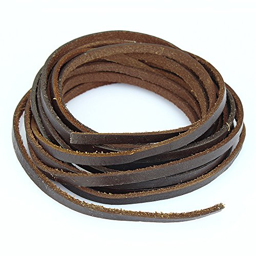 Learn More About LolliBeads 5mm Flat Genuine Leather Cord Braiding String Dark Brown Espresso (2 Yar...