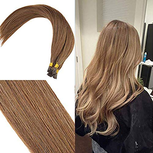 Youngsee 20Inch Remy Straight Cold Fusion Hair Extensions I Tip Real Hair Light Brown #6 Pre-bonded Itips Extensions Human Hair 50g/pack