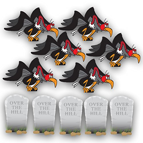 VictoryStore Yard Sign Outdoor Lawn Decorations: Birthday Yard Cards, Over The Hill with Buzzards and Tombstones Yard Decorations, Set of 11 with Stakes -