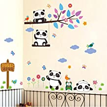 "BIBITIME Play on the swing Tree Branch Panda Wall Decal Owls Birds Butterflies Vinyl Sticker Sweet Home Sign Sticker for Nursery Kids Bedroom DIY 35.43"" x 25.59"""