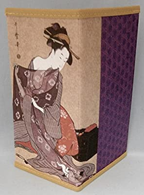 Japanese Rice Paper Wallet Checkbook Cover Lady with Cat In Decorative Gift Box