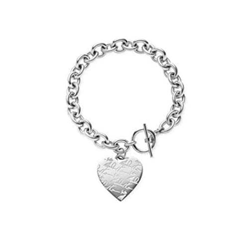 afd9b9410752d Image Unavailable. Image not available for. Color  Michael Kors MKJ3964  Silver Big Pave Heart Bracelet