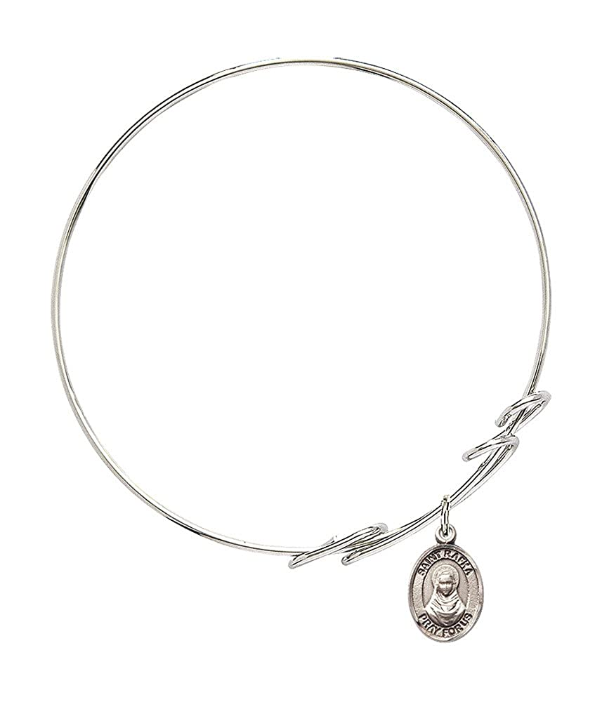 Rafka Charm On A 7 1//2 Inch Round Double Loop Bangle Bracelet St