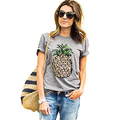 DCOIKO Women Summer Short Sleeve Tops Pineapple Printed T-Shirts Casual Loose Street Style Tee Shirts