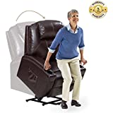 Power Lift Recliner Chair with Luxurious Bonded Leather, Lounge Living Room Sofa Heavy Duty Steel for Elderly, Brown