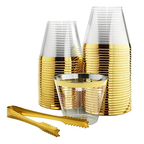 (100 Gold Rimmed Plastic Cups and 1 Gold Ice Tong Set - 9 Ounce Disposable Cocktail Glasses - Fancy Wine Tumblers for Weddings, Birthdays, Engagements, and Bridal Showers - Elegant Party Supplies)