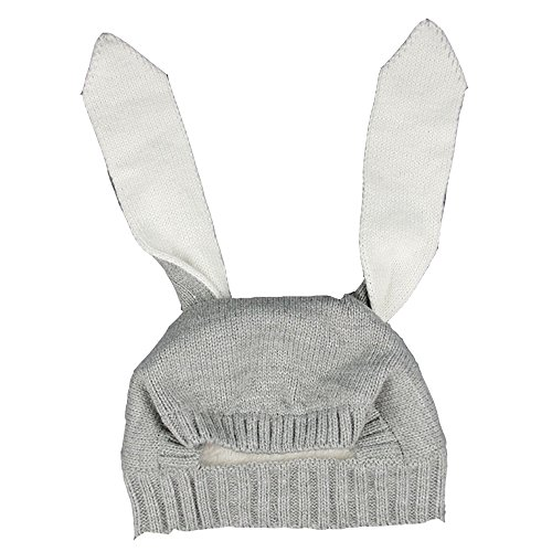 Spring fever Baby's Winter Warm Beanie Hat Fleece Lining Super Soft and Cute Crochet Bunny earcap- Grey One Size