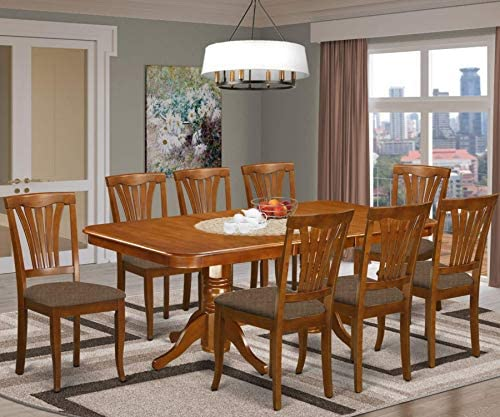 East West Furniture NAAV9-SBR-C 9-Pc Dining Set 8 Dining Room Chairs and Dining Room Table Rectangular Table Top Slatted Back and Linen Fabric Chair Seat Saddle Brown Finish
