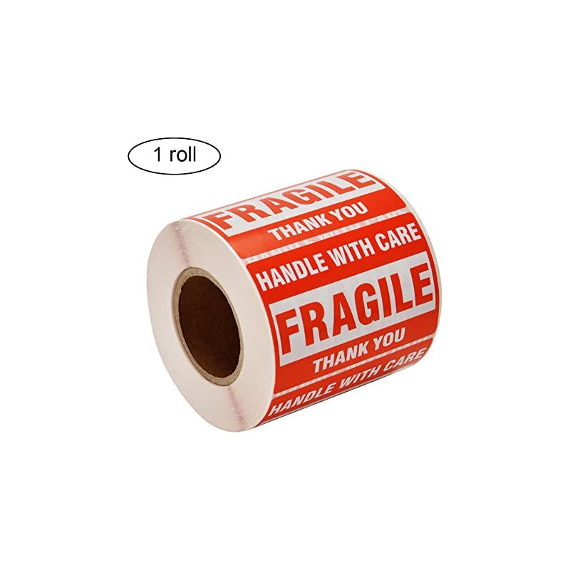 """[1 Roll, 500 Labels] 2"""" x 3"""" Fragile Stickers Handle With Care Warning Packing / Shipping Labels - Permanent Adhesive"""