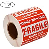 "[1 Roll, 500 Labels] 2"" x 3"" Fragile Stickers Handle With Care Warning Packing / Shipping Labels - Permanent Adhesive"