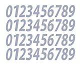 0-9 Numbers Gray Vinyl Sticker Decals Assorted Set of 40 Choose Size!! 1/2'' to 12'' (V546GrayItal) (8'')