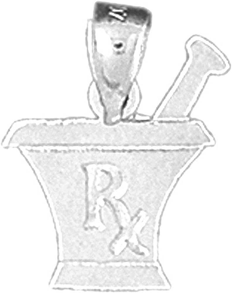 Jewels Obsession Rx Mixing Bowl Charm Pendant 14K White Gold Rx Mixing Bowl Pendant 11 mm