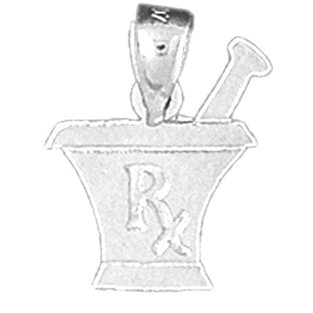 Jewels Obsession Rx Mixing Bowl Charm Pendant 14K White Gold Rx Mixing Bowl Pendant 11 mm