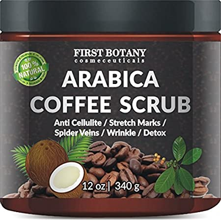 100% Natural Arabica Coffee Scrub with Organic Coffee, Coconut and Shea Butter - Best Acne, Anti Cellulite and Stretch Mark treatment, Spider Vein Therapy for Varicose Veins & Eczema (10 oz) First Botany Cosmeceuticals
