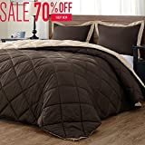 Lightweight Solid Comforter Set (Twin) with 1 Pillow Sham - 2-Piece Set - Brown and Tan - Hypoallergenic Down Alternative Reversible Comforter by downluxe