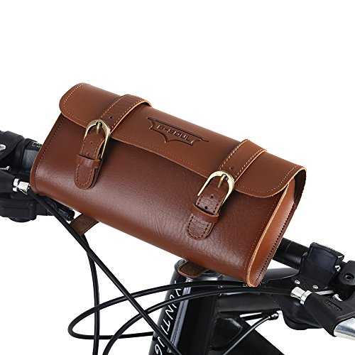Handcrafted Leather Bike Bag, Waterproof Retro Bicycle Front Bag, Quick Release Cycling Rear Storage Pouch Bike Saddle Bag for Storing Cellphone, Purse, Keys, Make Your Bike Special