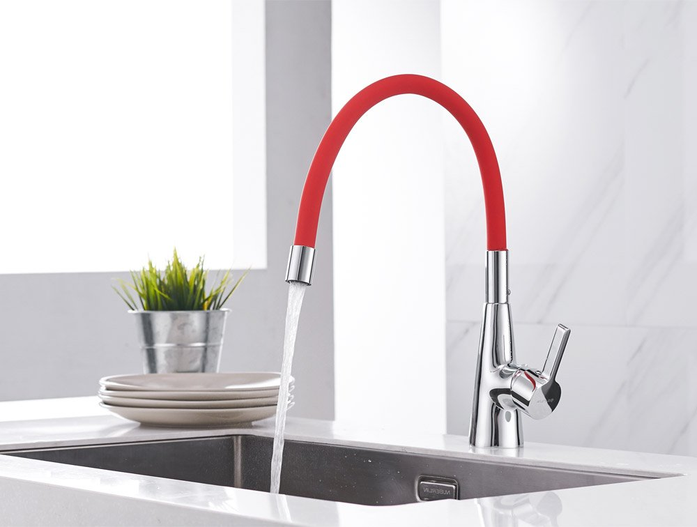 Sanliv 360 redatable Hot and Cold Water Kitchen Sink Faucet Mixer Sink Faucet Single Handle Bar Tap with Flexible Red Neck