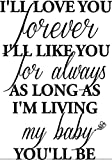 #1 I'll love you forever I'll like you for always as long as I'm living my baby you'll be wall art wall sayings quotes