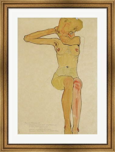 Seated Female Nude With Raised Right Arm, 1910 by Egon Schiele Framed Art Print Wall Picture, Wide Gold Frame, 27 x 36 inches