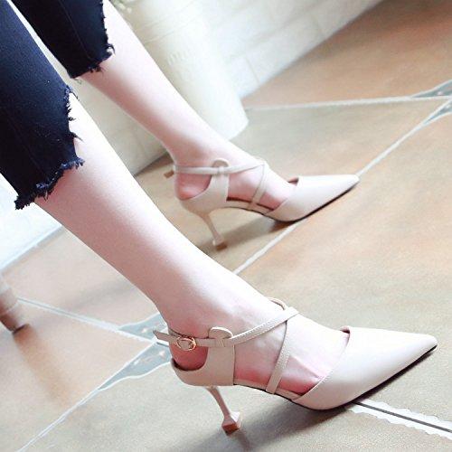 Xue Qiqi Pumps Sandalen Schuhe für Kreuz Schlitz-Gurt High High High Heels Leer Tipp Frauen Schuhe Fein mit Licht - Schuhe die Einzigen Schuhe Frauen e90478