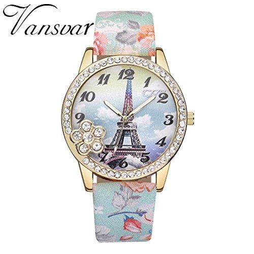 Ourhomer Vansvar/ V346 for Woman Eiffel Tower Leather Quartz Watch Women Casual Crystal Wristwatch (C)