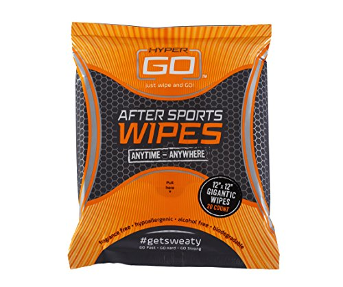 HyperGo After Sports Wipes, Full Body Wipes, Unscented, Hypoallergenic, All Natural Ingredients, Biodegradable (20 Wipes in Resealable Package) (1 - Wipes Biodegradable Natural