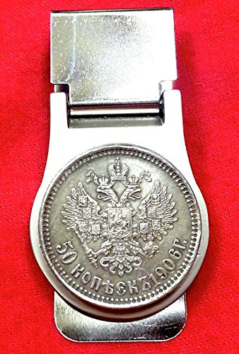 WINMART 1906 Imperial Russian Double Eagle Russia Silver Tone 50 Kopeks Coin Money Clip! ()