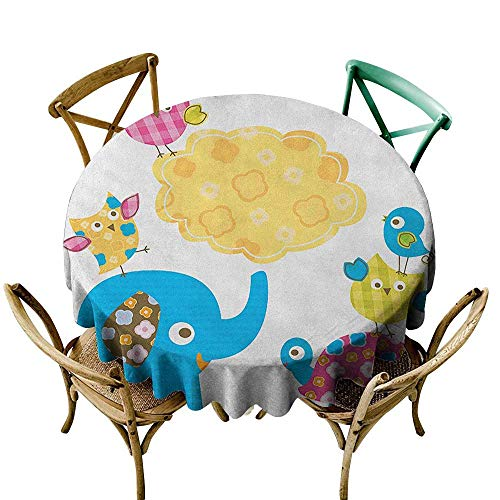 Wendell Joshua Navy Blue Tablecloth 48 inch Nursery,Diverse Cartoon Happy Animals Tortoise Elephant Lovely Yellow Cloud Drawing Style, Multicolor Suitable for Indoor Outdoor Round Tables