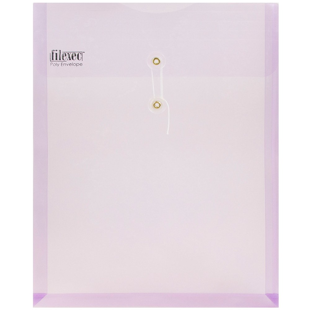 JAM PAPER Plastic Envelopes with Button & String Tie Closure - Letter Open End - 10 1/4 x 13 - Purple - 12/Pack