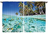 Scenery Decor Underwater Ocean Tropical Island Butterflyfish Fish Beach Ocean Decor Artistic Picture Blue Curtains Palm Trees 55 X 39 Inch Decorations for Kitchen Curtain Panels Set of 2 Panels Review