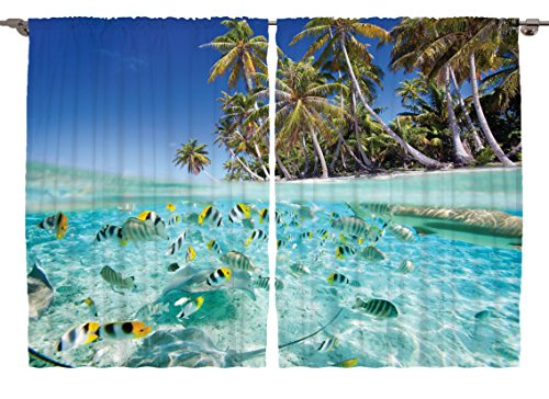 Captivating Scenery Decor Underwater Ocean Tropical Island Butterflyfish Fish Beach  Ocean Decor Artistic Picture Blue Curtains Palm Trees 55 X 39 Inch  Decorations For ...