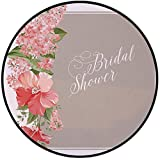 Printing Round Rug,Bridal Shower Decorations,Lilacs Orchids with Leaves Corner Frame Bride Party Mat Non-Slip Soft Entrance Mat Door Floor Rug Area Rug For Chair Living Room,Salmon Green and Beige
