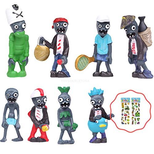 (Plants vs Zombies Figures 8PCS Cake Topper Toy Set | Bonus Card Included ToysoutletUSA)