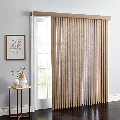 BrylaneHome Embossed Vertical Blinds - Light Taupe, 78I W 84I L