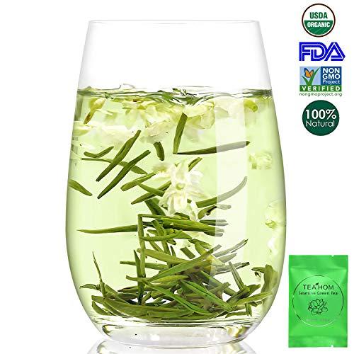 Jasmine Green Tea Bags,Chinese Organic Green Tea with Jasmine Pleasant Aroma,Medium Caffeine Jasmine Flowers for Hot Tea or Iced Tea,Drink Plain or Sweetened with Honey or Sugar 1.7ounce(Pack Of 16)