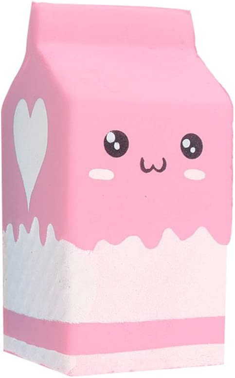 YHCWJZP Simulation Milk Box Squeezing Toy, Creative Milk Box Carton Squish-y Slow Rising Sweet Smiling Simulation Food Toy Stress Relief Toys Squeezes Toy