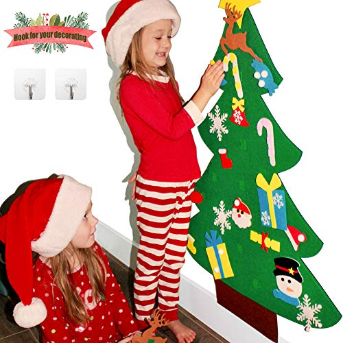 3ft DIY Felt Christmas Tree Sets +26pcs DIY Christmas Ornaments for Kids, Wall Door Hanging Christmas Decorations Xmas Trees Decor for Kids Room, Toddler Girl Boy Christmas Toys Gifts Ideas +Free Hook (Felt Ornaments)
