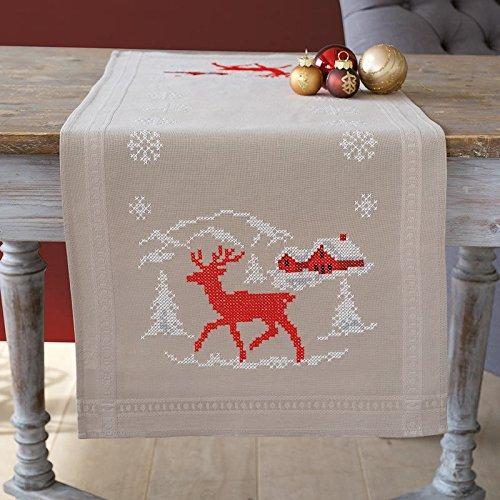 Printed Cross Stitch Tablecloth - Vervaco Norwegian Winter Printed Cross Stitch Table Runner Kit