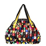 Sibalasi-Multicolor Woven Bohemian Large Tote Snake Print Patchwork Colorful Big Bag(Roll)