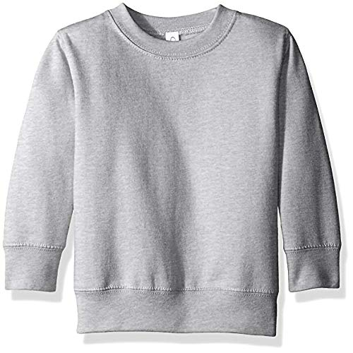 Clementine Apparel Girls' Little (2-7) Apparel Toddler's Fleece Sweatshirt, Heather Gray, 2T