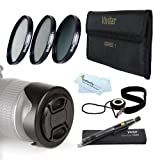 58MM Pro Lens Accessory Kit for Canon EOS 6D, 7D, EOS 60D, 70D, T5i, T5, T4i, SL1, T3i, T3, EOS M DSLR Includes: 3pc Fundamental Filter Kit (UV CPL ND8 Neutral Density) + 58mm Reversible Lens Hood +++