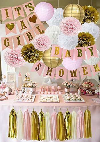 Premium Baby Shower Decorations for Girls Pink and Gold 39 Piece SET BABY SHOWER ITS A GIRL Banner Flower Pom Poms Paper Lanterns Balloons Honeycomb Ball Tassels Gender Reveal