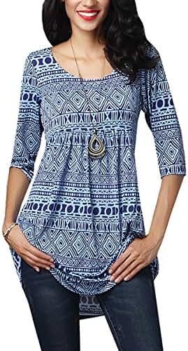 Gemijack Women's Blue Geometric Print Tunic 3/4 Sleeve Blouse Shirt Tops